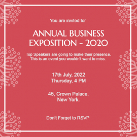 Online Editable Annual Business Exposition 2020 Invitation