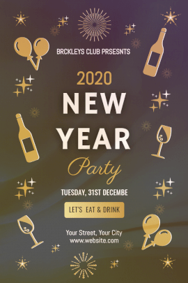 Online Editable New Year Party Invitation Pinterest Graphic