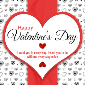 Online Editable Heart Valentine's Day Greeting Social Media Post