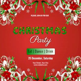 Online Editable Decorative Red Christmas Party Invitation Social Media Post