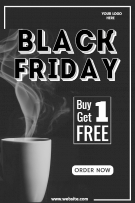 Online Editable Black Friday Coffee Sale Pinterest Graphic