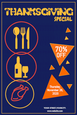 Online Editable Thanksgiving Special Sale Pinterest Graphic