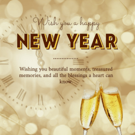 Online Editable New Year Wishes Champagne Glasses Social Media Post