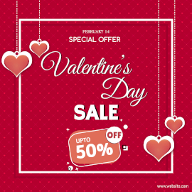 Online Editable Heart Pattern Valentine's Day Special Offer Sale Instagram Post