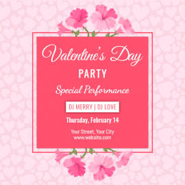 Online Editable Pink Valentine's Day Party Social Media Post