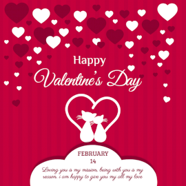 Online Editable Happy Valentine's Day Greeting Social Media Post