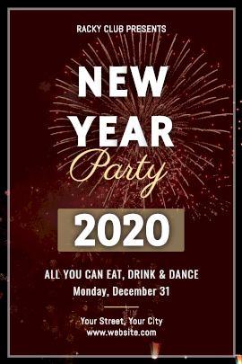 Online Editable Brown New Year Party Invitation Tumblr Graphic