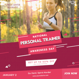 Online Editable National Personal Trainer Awareness Day Discount January 2 Social Media Post