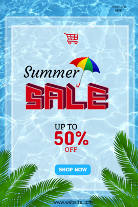 Online Editable Summer Sale Upto 50% Offers Pinterest Graphics