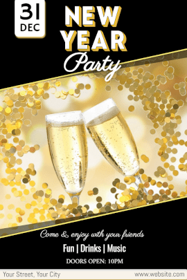 Online Editable New Year Night Party Pinterest Graphic