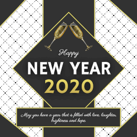 Online Editable Dot Pattern Happy New Year Greeting Instagram Post