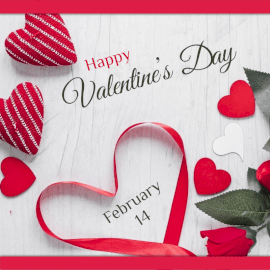 Online Editable Happy Valentine's Day Ribbon and Hearts Social Media Post