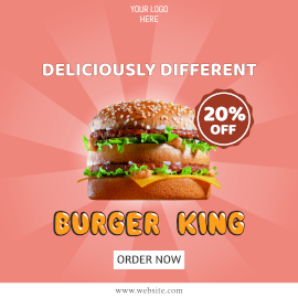 Online Editable Pink Burger Offers Instagram Ad