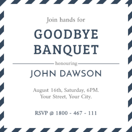 Online Editable Good-Bye Banquet Invitation