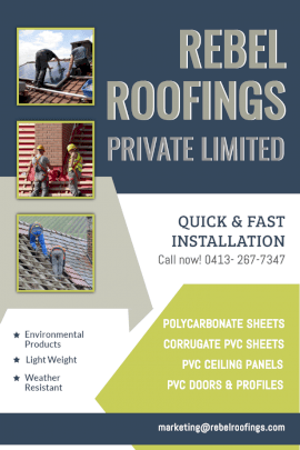 Online Editable Roofing Quick and Fast Installation Pinterest Graphic