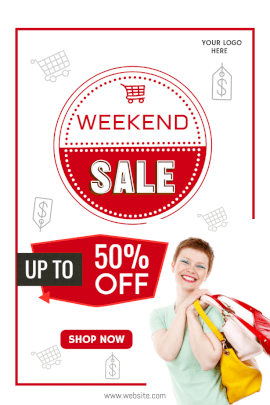 Online Editable Weekend Sale Up to 50% Offers Pinterest Graphic