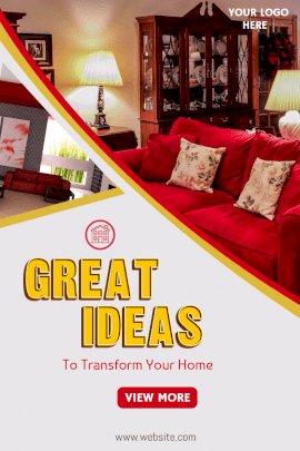 Online Editable Transform Your Home with Great Ideas Pinterest Graphic