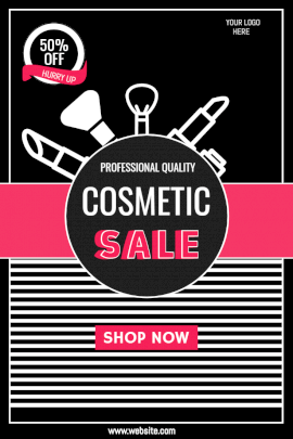 Online Editable Cosmetic Sale Offers Pinterest Graphic