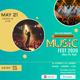 Online Editable Blue Music Fest 2020 Music Audiogram