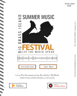 Online Editable White Summer Music Festival Music Audiogram