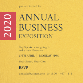 Online Editable Business Exposition 2020 Invitation