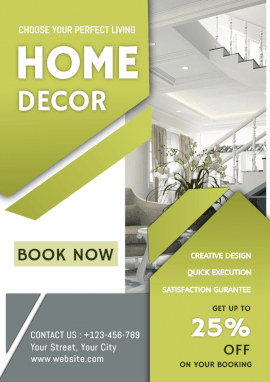 Online Editable Home Decor Booking Offer A4 Document