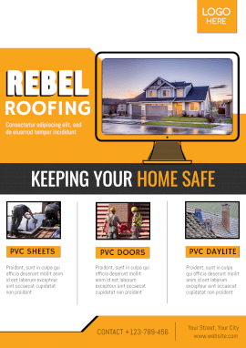 Online Editable House Roofing Business Poster