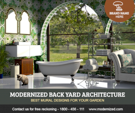 Online Editable Back Yard Architecture Design Facebook Post