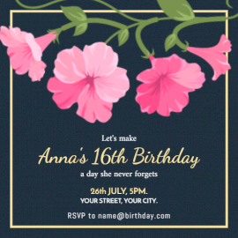 Online Editable Floral Sweet Sixteenth Invitation
