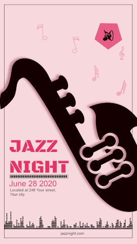 Online Editable Jazz Music Night Party Template Music Audiogram