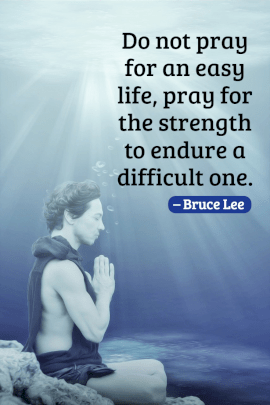 Online Editable Bruce Lee Pray For The Strength Pinterest Graphic