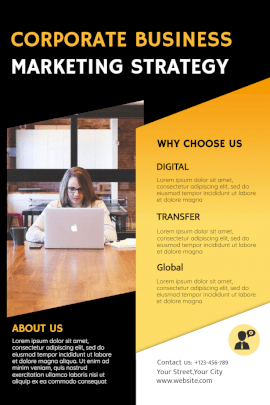 Online Editable Corporate Business Marketing Strategy Pinterest Graphics