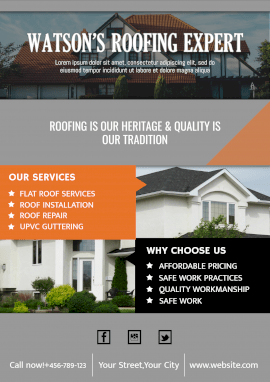 Online Editable Home Roofing Services Business Poster Marketing Materials
