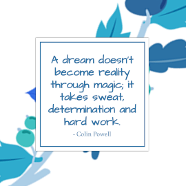 Online Editable Hard Work to Achieve Your Dreams Quotes by Colin Powell Instagram Post