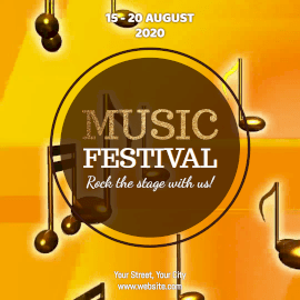 Online Editable Orange Music Festival Animated Design