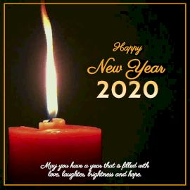 Online Editable Candle Light Happy New Year 2020 Wishes Animated Design