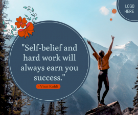Online Editable Self-Belief Quote By Virat Kohli Facebook Post