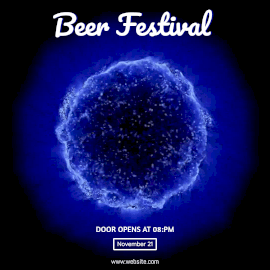 Online Editable Blue Beer Festival Party Animated Design