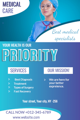 Online Editable Healthcare Services Specialist Pinterest Graphic