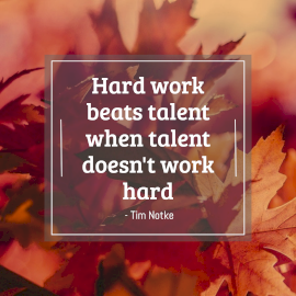 Online Editable Tim Notke Quote on Hard Work and Talent Instagram Post