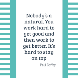 Online Editable Cyan Stay on Top Quote by Paul Coffey Instagram Post