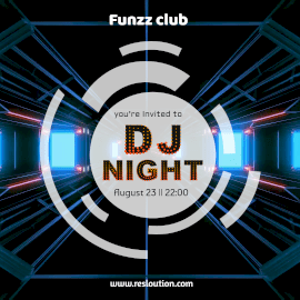 Online Editable Tunnel Background DJ Music at Funzz Night Club Animated Design