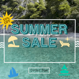 Online Editable Seashore Background Summer Sale Offer Animated Design