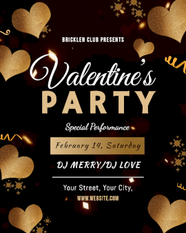 Online Editable Golden Glitter Hearts Valentine's Day DJ Party Animated Design