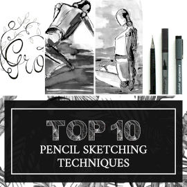 Online Editable Pencil Drawing Techniques Instagram Post 4 Grid Photo Collage