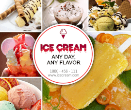 Online Editable Fancy Text Ice Cream Parlour 6 Grid Photo Collage