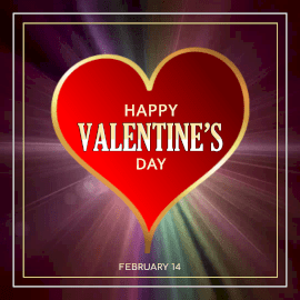 Online Editable Red Heart with Rays Happy Valentine's Day February 14 Animated Design