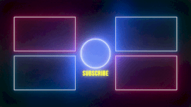 Online Editable Neon Light Four Panel Playlist YouTube End Screen Outro