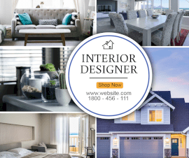 Online Editable House Interior Design 5 Grid Photo Collage
