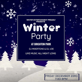 Online Editable Falling Snowflakes Winter DJ Party at Night Club Animated Design